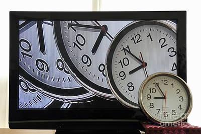 Multiple Clocks On Tv Screen Print by Sami Sarkis