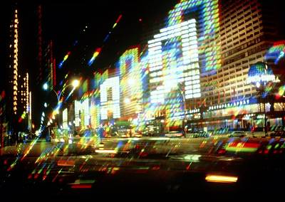 Multiple-exposure Photograph Of Moscow City Lights Print by Ria Novosti