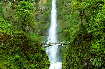 Photograph - Multnomah Falls Bridge With Sightseers Close To Falls by Sherry  Curry