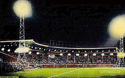 Painting - Municipal Stadium In Davenport Ia At Night by Dwight Goss