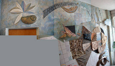 Ichtiology Relief - Mural Flounder - Digital Collage. 1988 by Yuri Yudaev-Racei