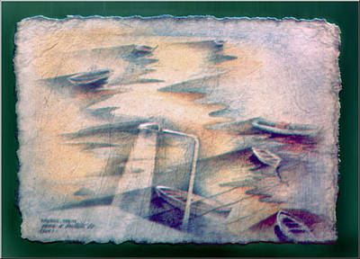 Drawing - Muros Boats 1982 by Glenn Bautista