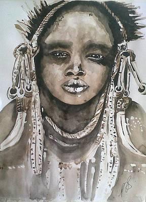 Painting - Mursi Tribe I. by Paula Steffensen