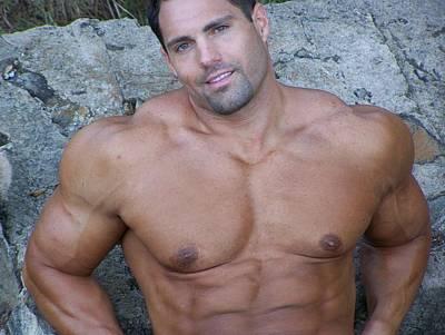 Nude Men Wrestling Photograph - Muscleart Marius Invitation by Jake Hartz