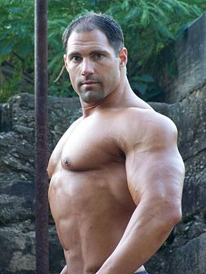 Nude Men Wrestling Photograph - Muscleart Marius Poser Up Close by Jake Hartz
