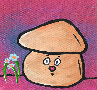 Character Portraits Painting - Mushroom And Flowers by Jera Sky