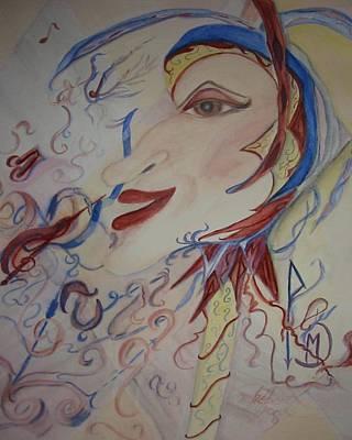 Music And Rune Jester Art Print by Marian Hebert