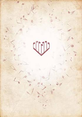Music Heart Warm Art Print by Luka Balic