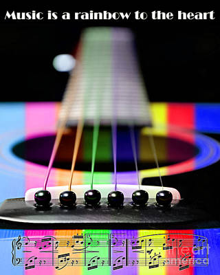 Music Is A Rainbow To The Heart Print by Andee Design