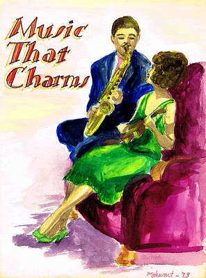 Saxophone Drawing - Music That Charms by Mel Thompson