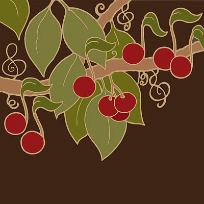 Digital Art - Musical Cherries by Linda Ruiz-Lozito
