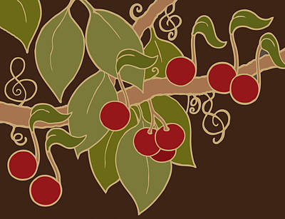 Digital Art - Musical Cherries Rectangle by Linda Ruiz-Lozito