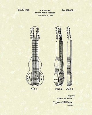 Drawing - Musical Instrument 1950 Patent Art  by Prior Art Design