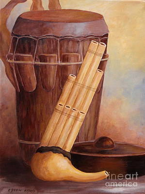 Painting - Musical Instruments Of North Borneo's Native by Edoen Kang