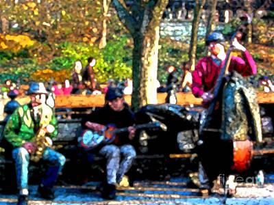 Musicians In Central Park Art Print by Anne Ferguson