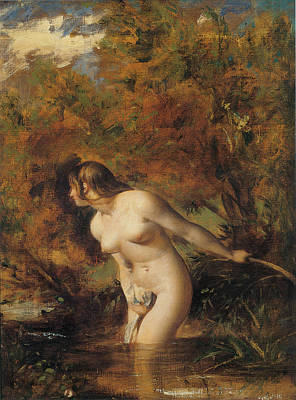 Doubtful Painting - Musidora  The Bather At The Doubtful Breeze Alarmed by William Etty