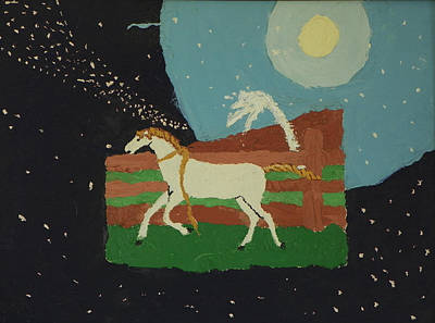 Painting - Mustang Free In The Universe - Childhood Painting by Dawn Senior-Trask