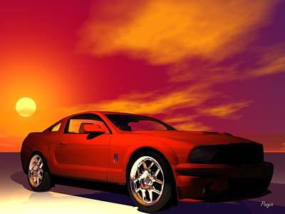 Art Print featuring the digital art Mustang Gt by John Pangia