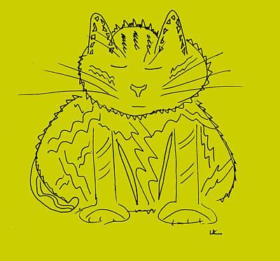 Wall Art - Drawing - Mustard Meditation Cat by Lori Kirstein