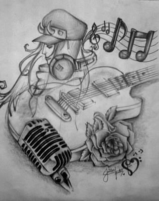 Mic Drawing - Muzic by Juilee Patil