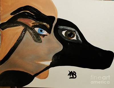 Painting - My Beloved Greyhound And Me by Marie Bulger