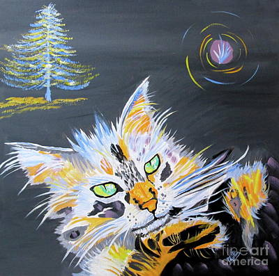 My Calico Cat Wizard Art Print by Phyllis Kaltenbach