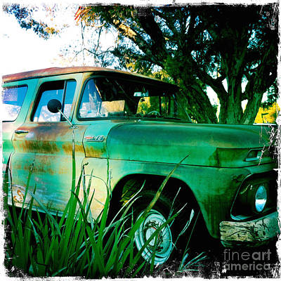 Transportation Photograph - My Chevy Is A Big Green Truck by Nina Prommer