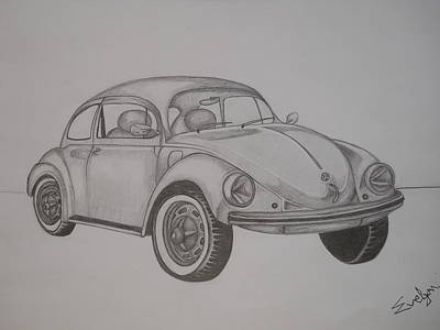 Vw Beetle Drawing - My Dream Car by Evelyn Cseh