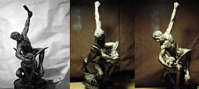 Sculpture - My First Bronze Good Over Evil. by Patrick RANKIN