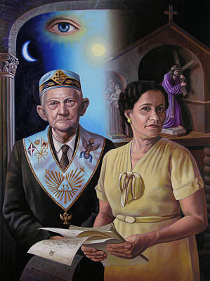 Wall Art - Painting - My Grandparents by Miguel Tio