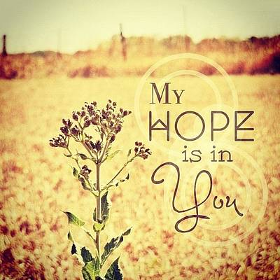 Inspirational Photograph - My Hope Is In You. Psalm 39:7💜 by Traci Beeson