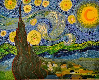 My Starry Night Inspired By The Master Vincent Van Gogh Art Print by Evelyn SPATZ