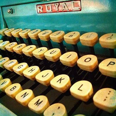 Typewriter Wall Art - Photograph - My #vintage #royal #typewriter #aqua by Debi Tenney