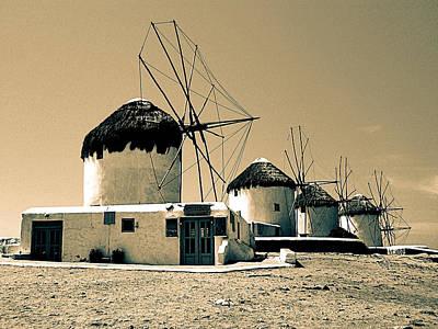 Mykonos Town Windmills Print by Floyd Menezes