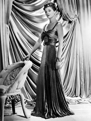 Evening Gown Photograph - Myrna Loy Wearing Green And Yellow Gold by Everett
