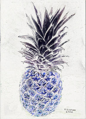 Scratchboard Painting - Mysterious Blue Pineapple by Robert Goudreau