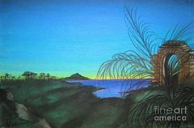 Pastel - Mystical Island Portal At Dawn by Judy Via-Wolff