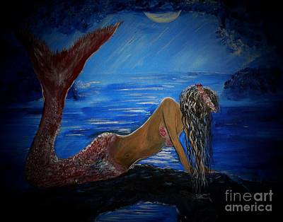 Under The Moon Wall Art - Painting - Mystical Midnight Mermaid Series 2 by Leslie Allen