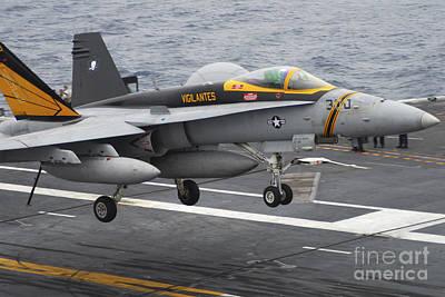 Ps I Love You - N Fa-18f Super Hornet Lands Aboard by Stocktrek Images