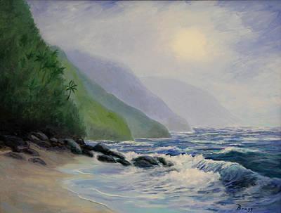 Na Pali Coastline From Ke'e Beach Art Print by Becky Bragg