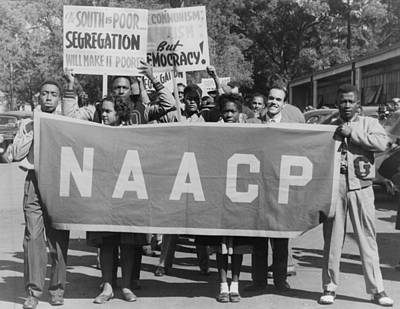 Naacp Banner Is Held By Protesters Art Print