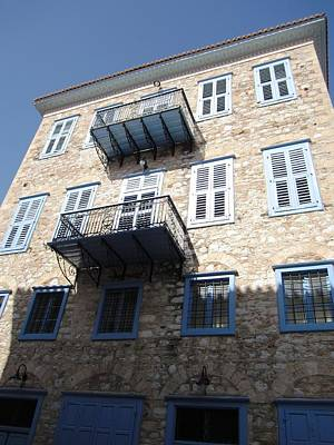 Photograph - Nafplion Architecture Of Building With Window Shutters And Balcony In Greece  by John Shiron