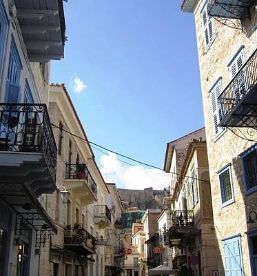Photograph - Nafplion Old Side Streets And Rows Of Balcony In Greece by John Shiron