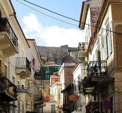 Photograph - Nafplion Old Side Streets II And Rows Of Balcony In Greece by John Shiron