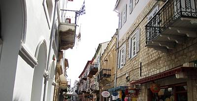 Photograph - Nafplion Old Side Streets IIi And Rows Of Balcony In Greece  by John Shiron