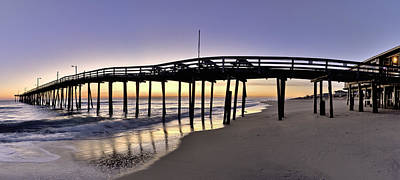 Nags Head Fishing Pier At Sunrise - Outer Banks Scenic Photography Art Print by Rob Travis