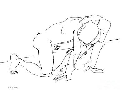Male Nude Drawing Drawing - Naked-man-art-18 by Gordon Punt