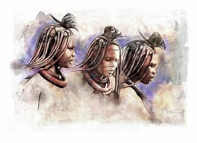 Portrait Study Mixed Media - Nambian Women by James Robinson