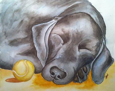 Dog With Tennis Ball Painting - Nap Time by Stephanie Reid