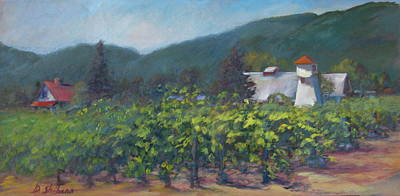 Napa Valley Vineyard Painting - Napa Barn In The Wine Country by Deirdre Shibano